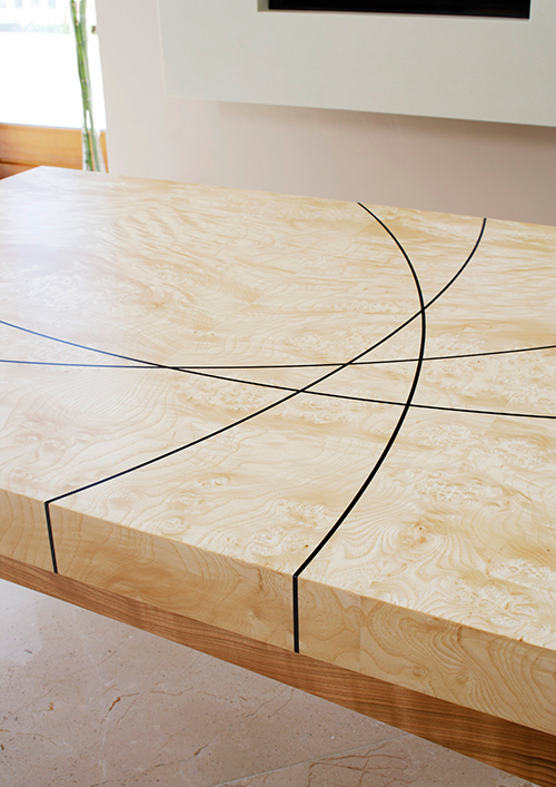 Table top with inlay