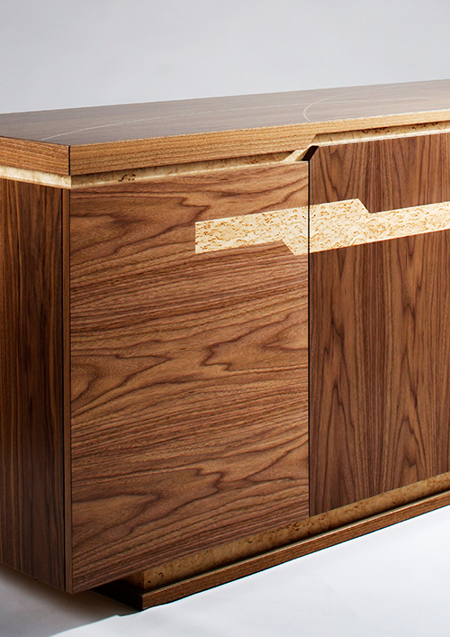 Cabinet with inlay design on doors