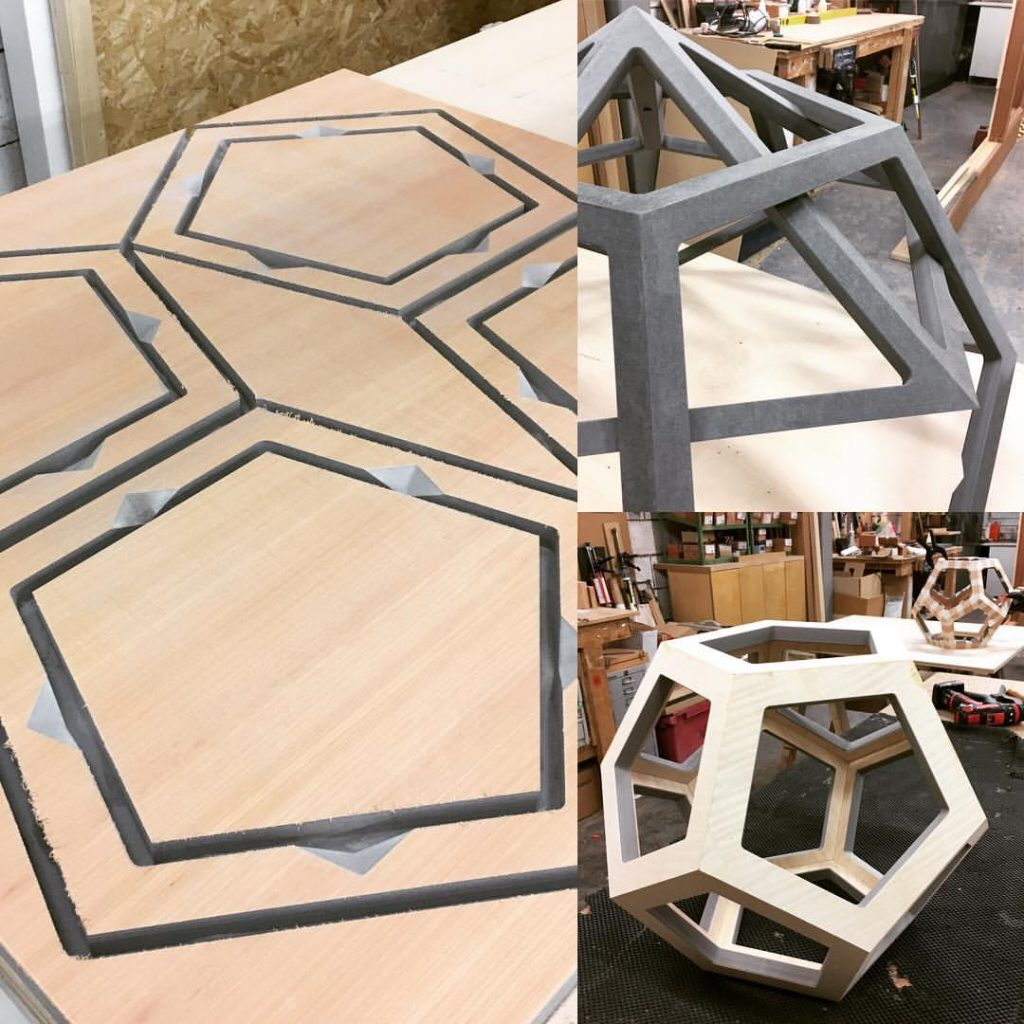 Making Shapes! Dodecahedrons shaped and being veneered