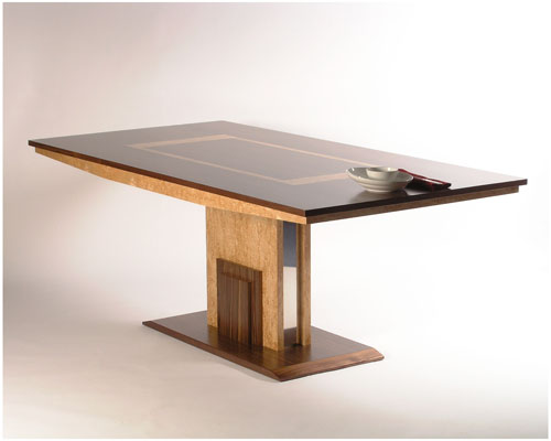 8 seater dining table in American Walnut with masur birch inlays