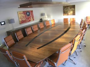 Walnut 18 seater Boardroom Table with Black Glass Detail
