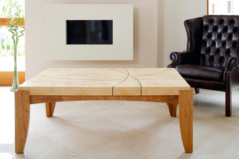 Coffee Table- Cluster Ash - Solid Cherry- Ebony inlay