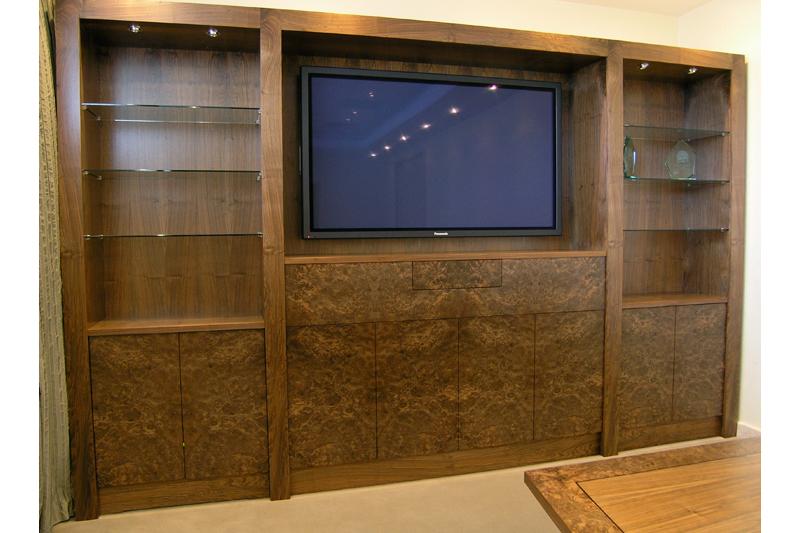 Audio Visual cabinet - Burr Walnut with Walnut details