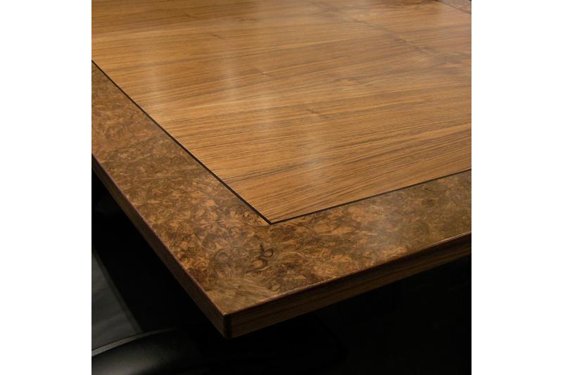 Boardroom Table - Edge Detail - Walnut & BurrWalnut
