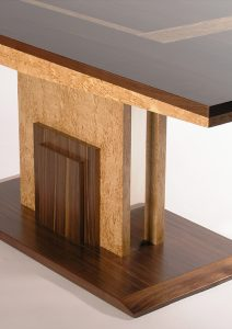 Accession dining table American Walnut and masur birch inlays