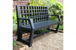 Outdoor bench made in solid Iroko and painted with exterior quality polyurethane paint.