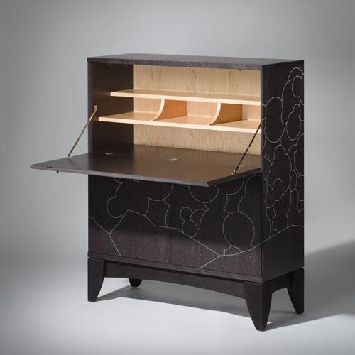 Writing Desk- Bureau -Oak Maple Black Silver- multipurpose