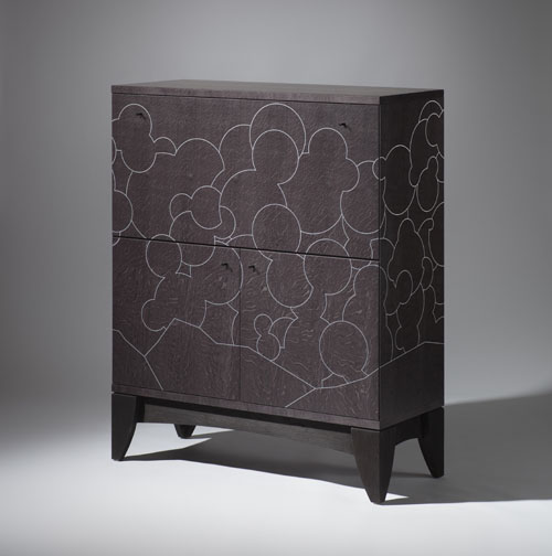 Bureau- writing desk - work from home- black and silver