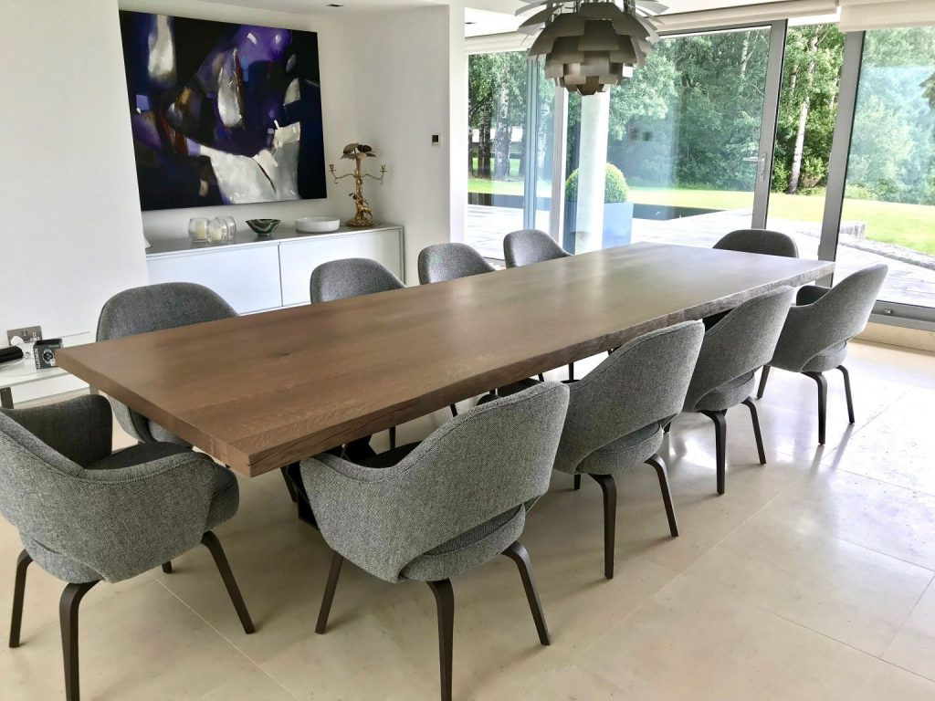 Solid wood dining table with metal base - made individually to suit your home