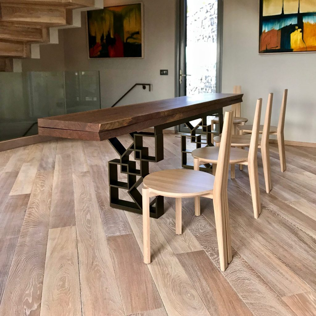 Console Table - folding - solid wood - convert to dining table