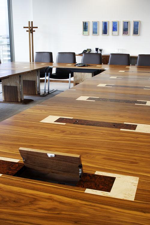 Modular Boardroom Tables Black Walnut - Marquetry - inlay
