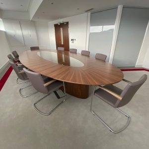 Boardroom Suite - Walnut and leather - Pod Base - AV integration - discreet - elegant- custom design