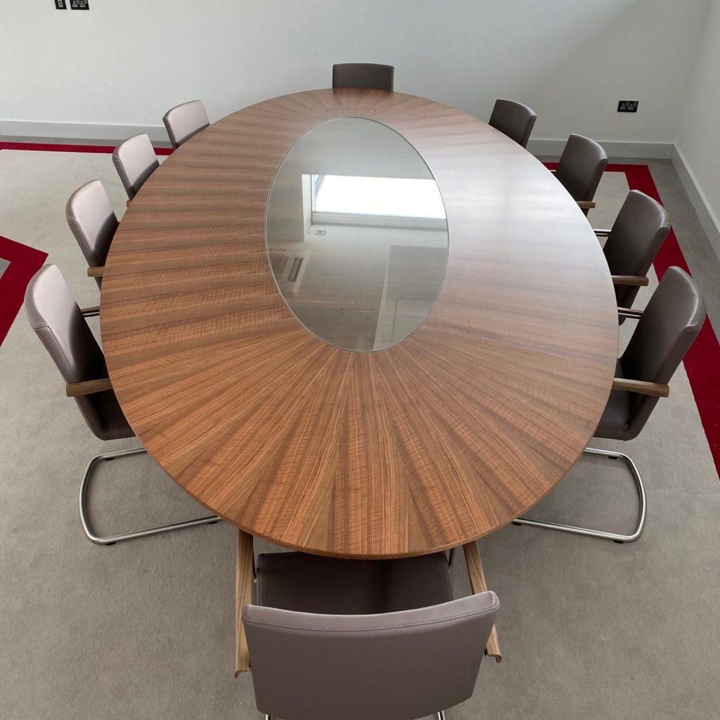 Boardroom Table - Walnut radial Veneer - Custom design - discreet AV- handmade in Ireland