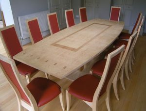 Dinig Table - bespoke - Cluster Ash - inlay- Cherry- Chairs - handcrafted to order