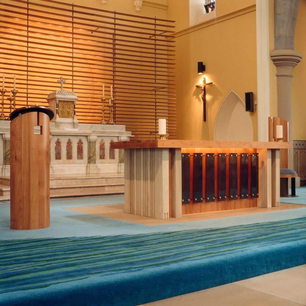Altar - St. Nicholas - Brass Stone Cherry - Bespoke church furniture Made in Ireland