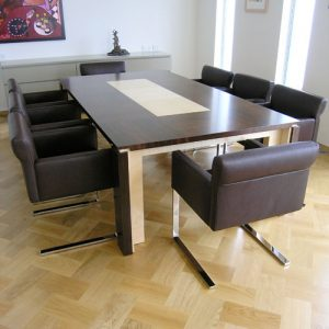 8 seater dining table in Ebony and Sycamore- Handmade in Ireland