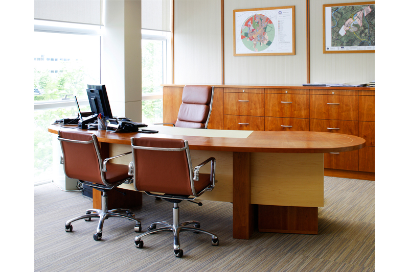 Office Suite - American Cherry with Maple details and leather insert.