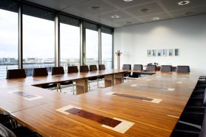 30 Seat Bespoke Boardroom Table - American Black Walnut with Marquetry Details