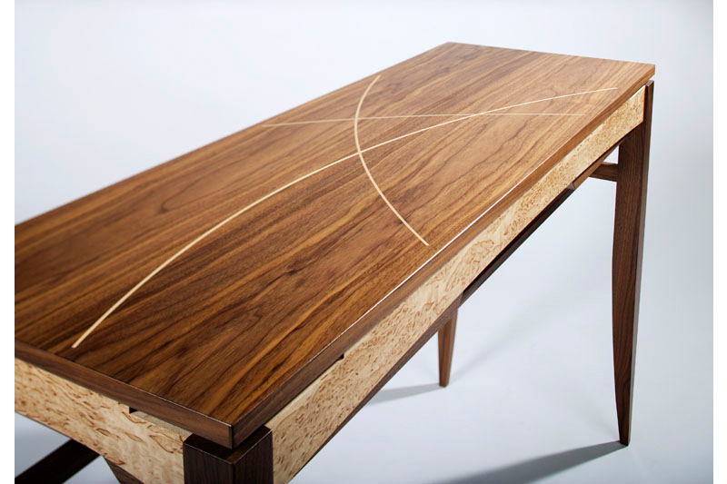 Console Table in Walnut with Masur Birch and Maple details