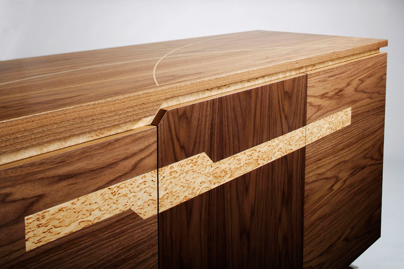 Sideboard in Walnut with elegant inlay detail- handcrafted in Dublin