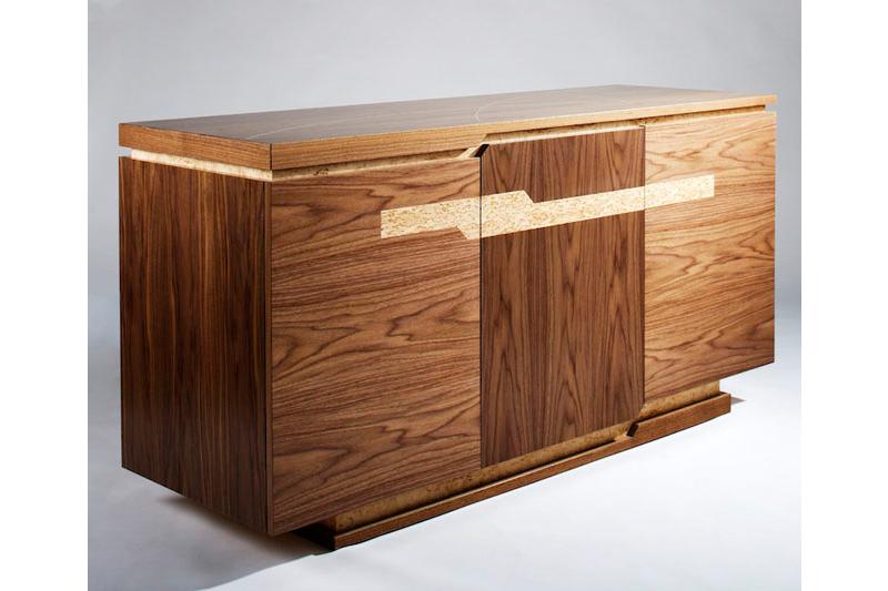 Handcrafted Walnut Sideboard with masur birch details.